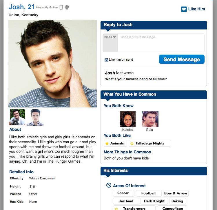 Making online dating profile with add